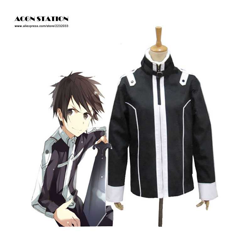 2018 Free Shipping Costume Anime Sword Art Online 2 Cosplay Sword Costumes Kirito Black Jackets Hoodie Thick Coat Drop Shipping adult fashion sword art online long straight hair cosplay wig anime party free