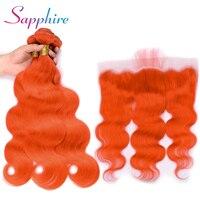 Сапфир Малайзия объемная волна темно оранжевый человеческих волос 3 Связки с 13*4 Кружева Фронтальная застежка волос Волосы remy
