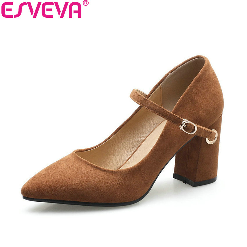 ESVEVA 2018 Women Pumps Out Door Square High Heels Spring and Autumn Pointed Toe High Heels Buckle Strap Women Shoes Size 34-40 xexy small square toe medium heels natural leather women shoe spring autumn buckle strap dance party sweet platform women pumps