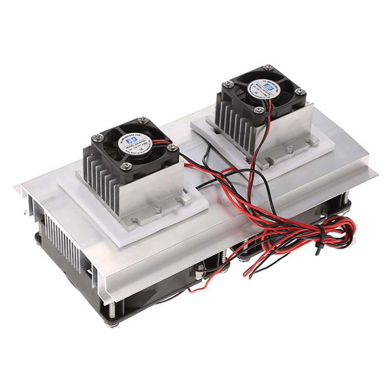 <font><b>200</b></font> x 115 x 8.5mm 120W Thermoelectric Peltier Refrigeration Semiconductor Cooling System Kit Double <font><b>Fan</b></font> image