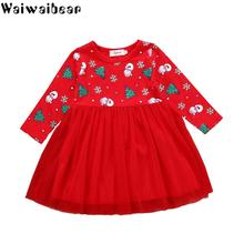 Baby Kids Christmas Dresses for Girls Toddler Kid Girl Long-Sleeved Cartoon Snowman Print Dress Clothes