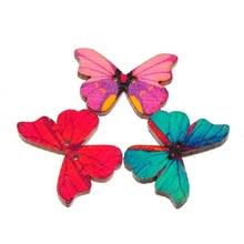 50 шт./лот Красочные 2 отверстия смешанные деревянные пуговицы с бабочками шитье скрапбукинг DIY Ремесло Кнопка