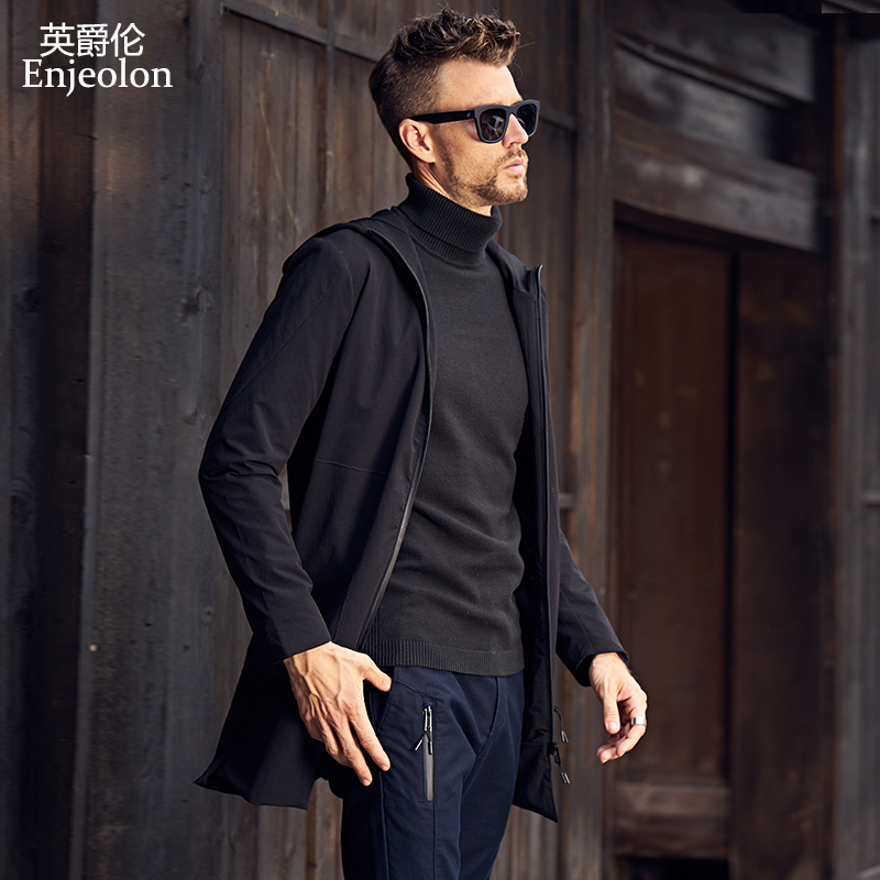 Enjeolon Brand Hooded Collar Trench Jacket Coat Men Quality Male Clothing Long Black Trench Coat Windbreaker Jacket JK0525