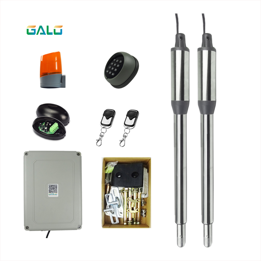 Swing Gate Opener for 600lbs Double-leaf Swing Gates with Unit circuit board box and Remote control swing gate actuator