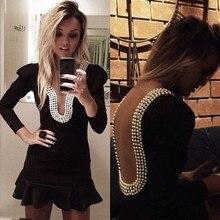2016 neuer Heißer Verkauf Mode Beliebt A-line Perlen V-ausschnitt 3/4 Ärmel Perlen Kurz/Mini Taft Party/Cocktailkleider