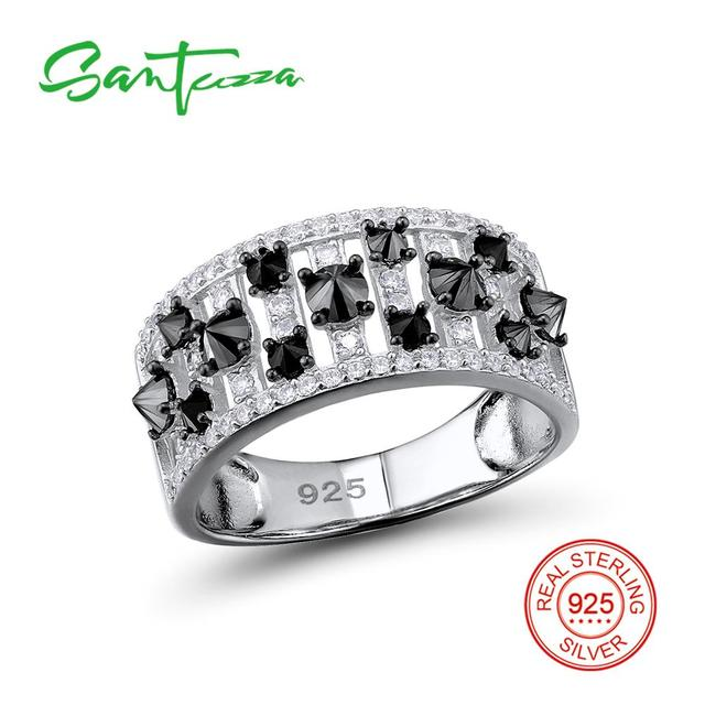 SANTUZZA Silver Rings for Woman Black spinels Stone Ring AAA Cubic Zirconia Rings Pure 925 Sterling Silver Party Fashion Jewelry