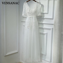 VENSANAC 2018 V Neck Sequined A Line Lace Appliques Long Evening Dresses Party Half Sleeve Pearls Sash Backless Prom Gowns