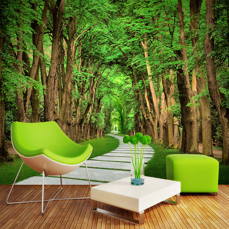 3d Wallpaper For Bedroom Stone Aliexpress Com Buy Custom Photo Wallpaper Trees Forest