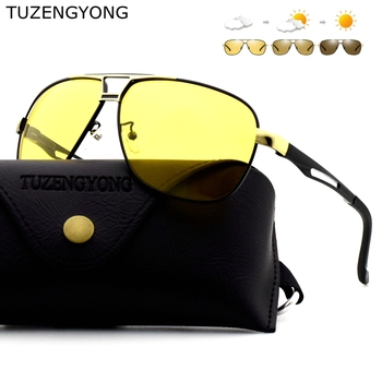 BRAND DESIGN 2018 New Aluminum alloy Polarized Sunglasses Men Color Changing Driving Sun Glasses Women Male Goggles Gafas de sol