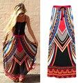 Étnico verano falda larga 2017 nueva bohemia vintage floral print faldas para mujer asimétrica cinturón falda de las mujeres faldas saia jupe