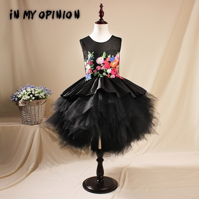Embroidery Ball Gown Kids Girl Flower Dress Black Children Princess Dresses Tutu Dress for Wedding Evening Party Gown Girl A83 flower girl dresses for weddings evening party dress embroidery sleeveless tulle princess ball gown dress vestidos mujer d30