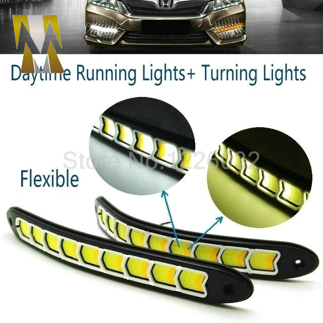 Flexible White Daytime Running Light Turn Lights LED COB Day Run Lights DRL With Amber Turning Steering Signal Lamps