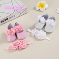 Newborn baby in the first baptism shoes free shipping from September baby girl doll baby shoes PU + headband baby first walkers