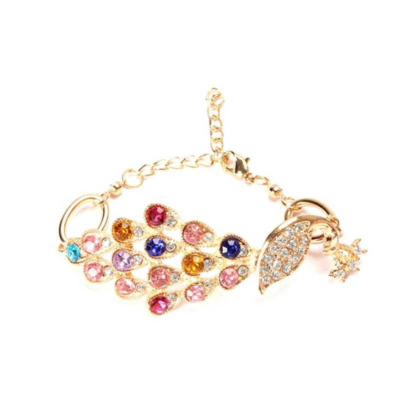 Vintage Gold Colorful Crystal Rhinestone Peacock Bracelet Bangle Hand Chain LL@17