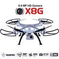 Syma x8g rc drone quadcopter com câmera de 8mp hd grande angular 2.4g 6 eixos venture rtf helicóptero