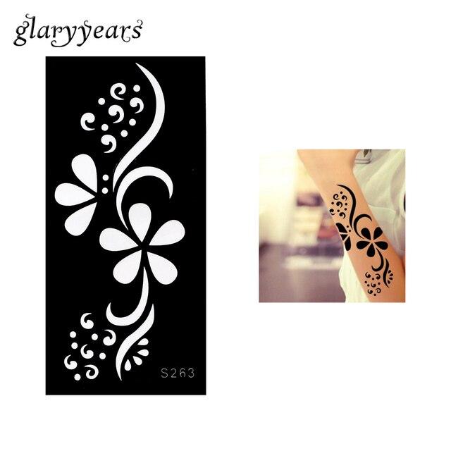1 Piece Hollow Tattoo Template Black Color Henna Tattoo Stencil - tattoo template