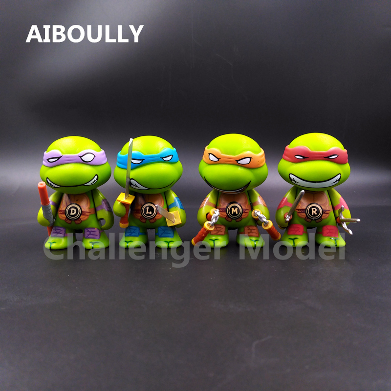 4pcs/set Turtles Warrior Diy Hero Boy Gift Animiation Action Figure Doll House Kids Toys Miniature Model For Car Decoration 12pcs set pony toys horse unicorn in action figure 4 5cm colorful different styles doll kids toy model pvc doll for girls gift