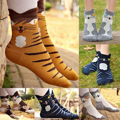 Women Cute Socks Cartoon Animals Striped Cat Footprints Cotton Short Sock PB