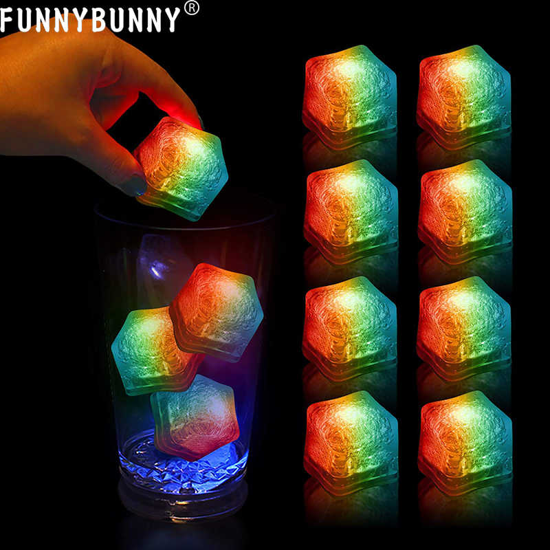 FUNNYBUNNY  5PCS LED Glow Ice Cubes Multiple Color Lights up Toy Party Bars and Festival