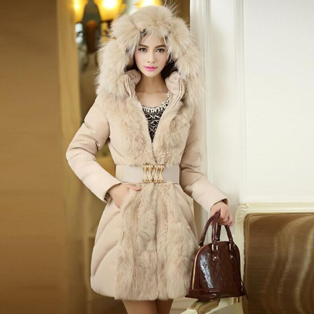 2016 Winter women coat Fur collar can detach With cap slim long money Black and beige Female tops cotton-padded clothes