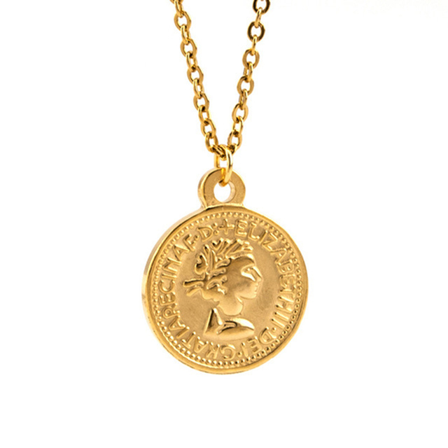 Women Coin Choker Necklace Gold Color Pound Elizabeth II, Euro 10 Cent Coins Stainless Steel Vintage Mujer Collar 2018 New