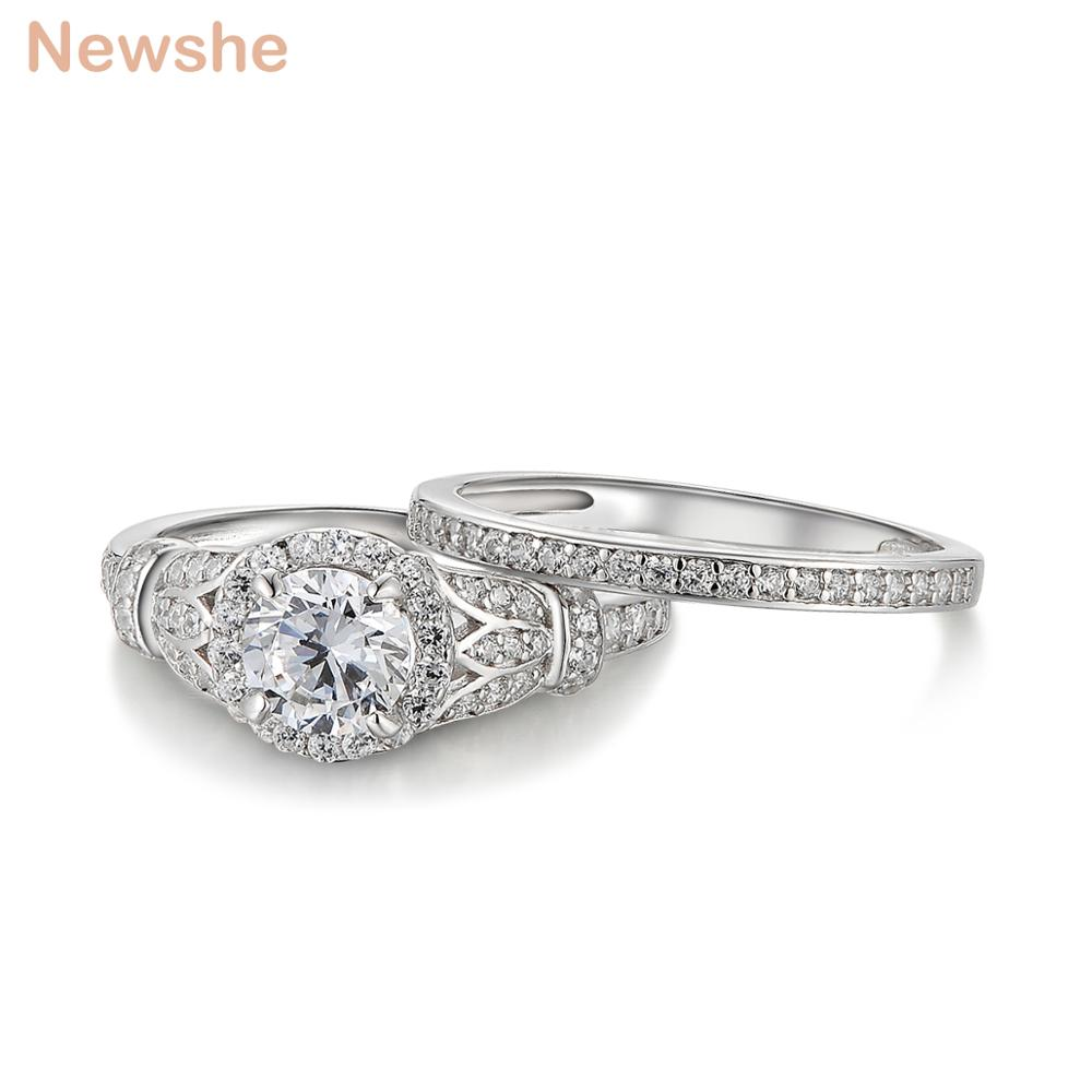 Newshe Clover Side Stones Halo Wedding Ring Sets Solid 925 Sterling Silver Engagement Rings For Women Eternity Classic Jewelry цена