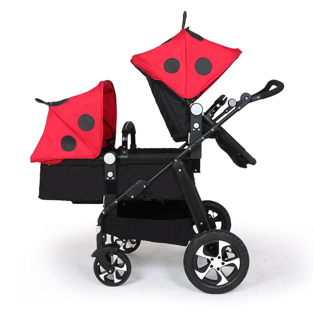 Twins baby Stroller Carton two seats Baby cart golden frame black basis Light Fo