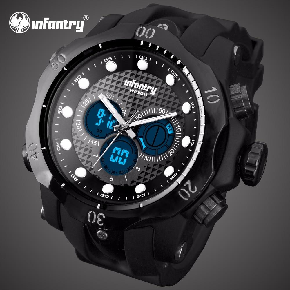 2d2f42d6437 INFANTARIA Mens Relógios Top Marca de Luxo Relógio Analógico Digital Homens  Grande Aviador Militar Do Exército Do Esporte Relógio para Homens Relogio  ...