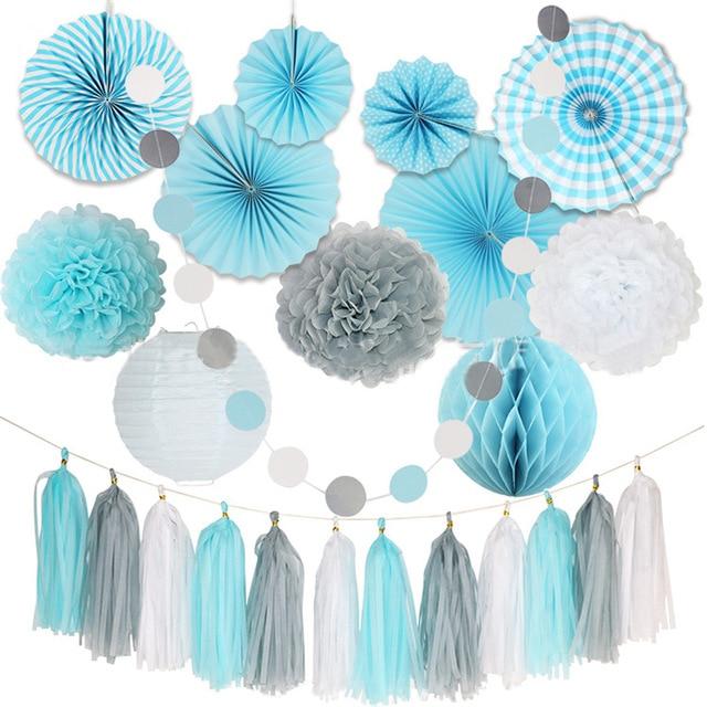 24Pcs/Set Chic DIY White Gray Blue Tissue Paper Pom Pom Flower Ball Folding Fan String Garland For Wedding Birthday Party Decor