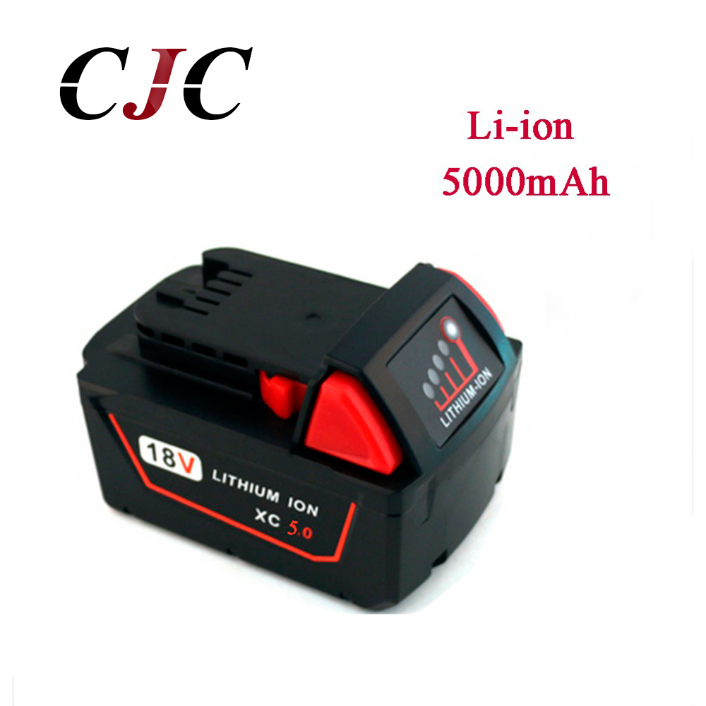 18V 5000mAh Li-Ion Replacement Power Tool Battery for Milwaukee M18 XC 48-11-1815 M18B2 M18B4 M18BX Li18 18v li ion 3000mah replacement power tool battery for milwaukee m18 xc 48 11 1815 m18b2 m18b4 m18bx li18 with power charger