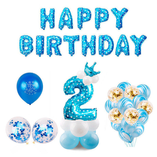 QIFU 2 Birthday Balloons Number Balloon 2 Year Old Kids Blue Boy 2nd
