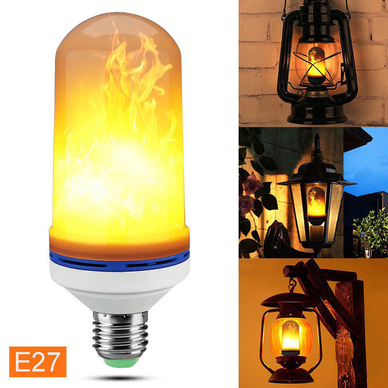 LED Flame Effect Fire Light Bulb E27 Flickering Flame Lamp Simulated Decorative Outdoor Garden Lights