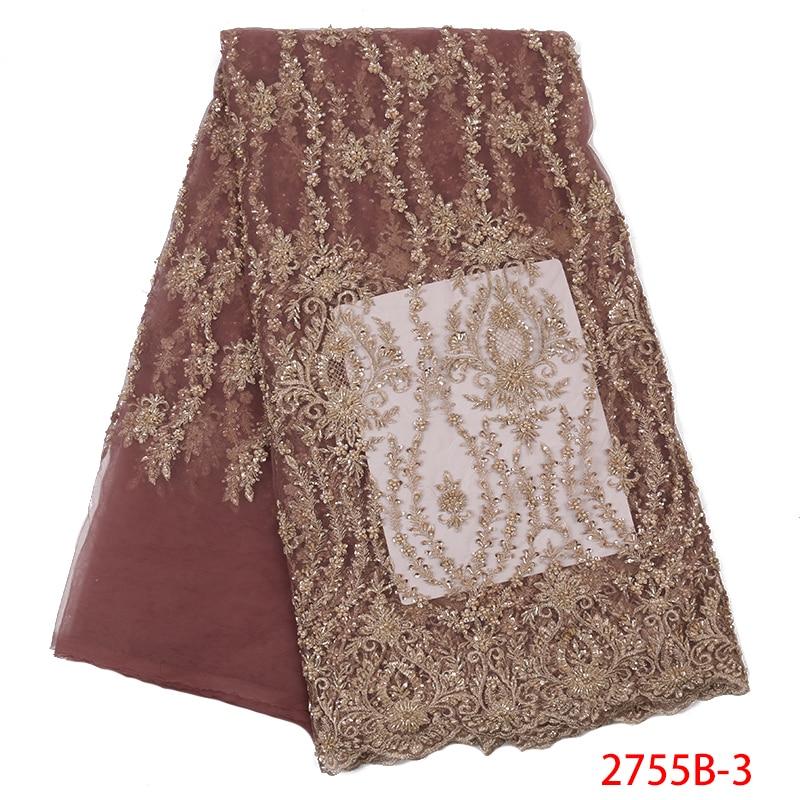 Bordado de encaje de tul francés africano con cuentas de lujo hecho a mano telas de encaje para mujeres vestidos de tela de encaje con cuentas APW2755B-in encaje from Hogar y Mascotas    1