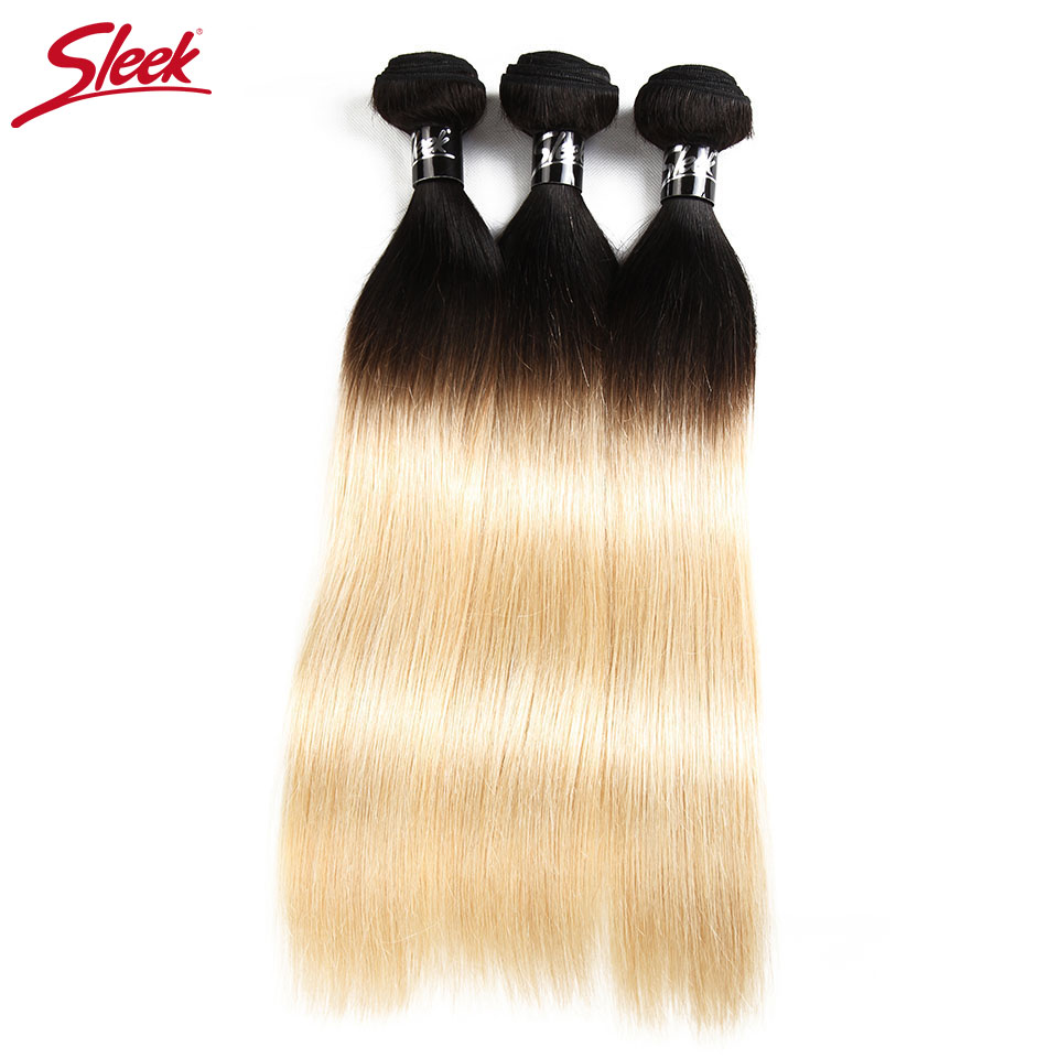 Sleek Hair Blonde Brazilian Straight Hair 3 Bundles Deal T1B 613 Remy Human Hair Hair Extensions 10 To 30 Inches Free Shipping-in 3/4 Bundles from Hair Extensions & Wigs    1