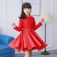 Girls Dress Kids Clothes 2019 spring and autumn new solid color cotton children's wear long sleeved Chinese national wind dress