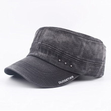 Adjustable Size Cotton Mens Winter Hat Washed Cloth Retro Military Hats Simple Fashion Male Bone Flat Cap Casual Daddys