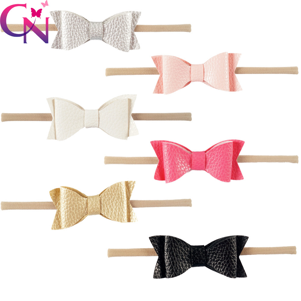 30 Pcs/lot High Quality Nylon Hair Accessories Handmade Solid Nylon Headband With Leather Bow For Girls Kids Headwear halloween party zombie skull skeleton hand bone claw hairpin punk hair clip for women girl hair accessories headwear 1 pcs