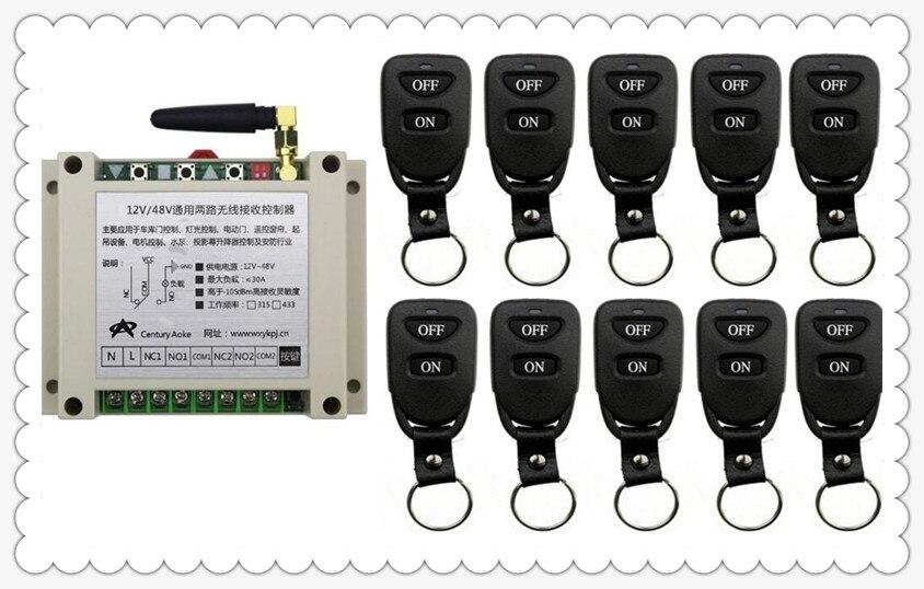 Nouveau DC12V 24 V 36 V 48 V 10A 2CH Télécommande Interrupteur Sortie Relais Radio Module Récepteur et 10 pièces Ceinture boucle Transmetteur