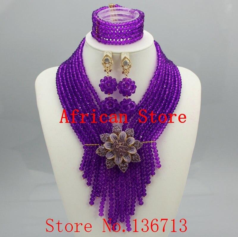 Purple Nigerian Wedding African Beads Jewelry Set Crystal Beads ...