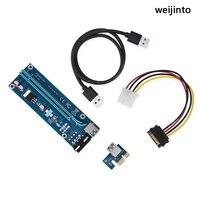 2 шт. pci-e PCI Express Riser Card кабели 1x к 16x для БТД Шахтер машина USB 3.0 кабель SATA к 4PIN IDE Мощность кабель версии 006