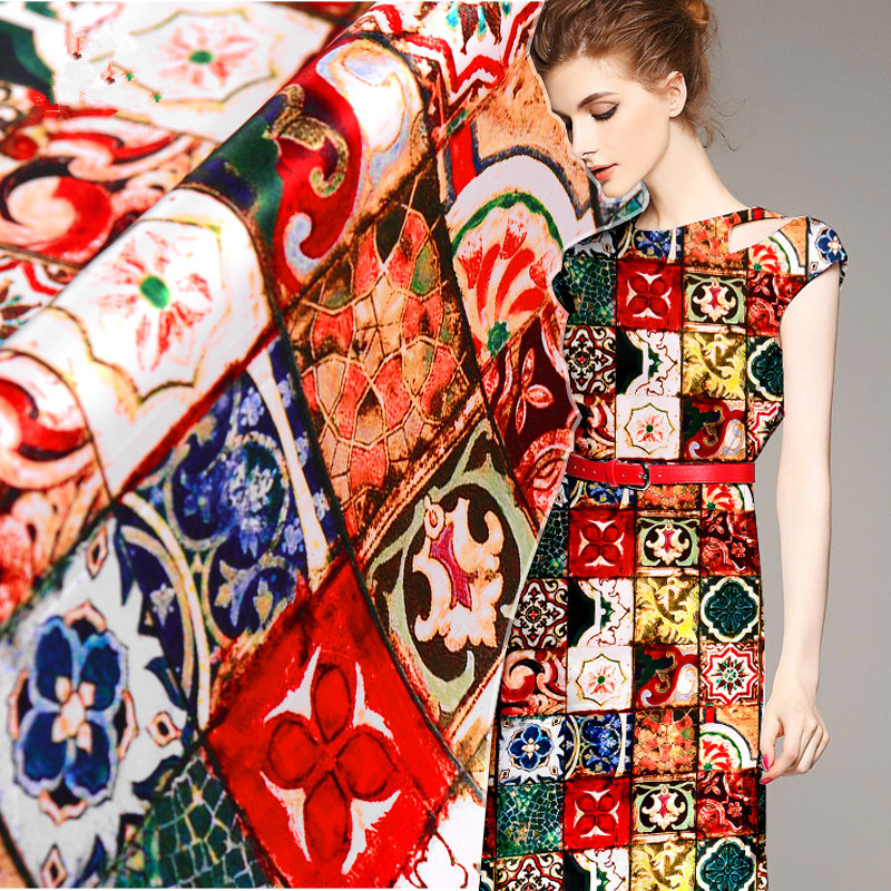 108cm Width 19mm Thickness Multicolor Sicilian Majolica Mulberry Silk Stretch Satin Fabric for Woman Summer Dress