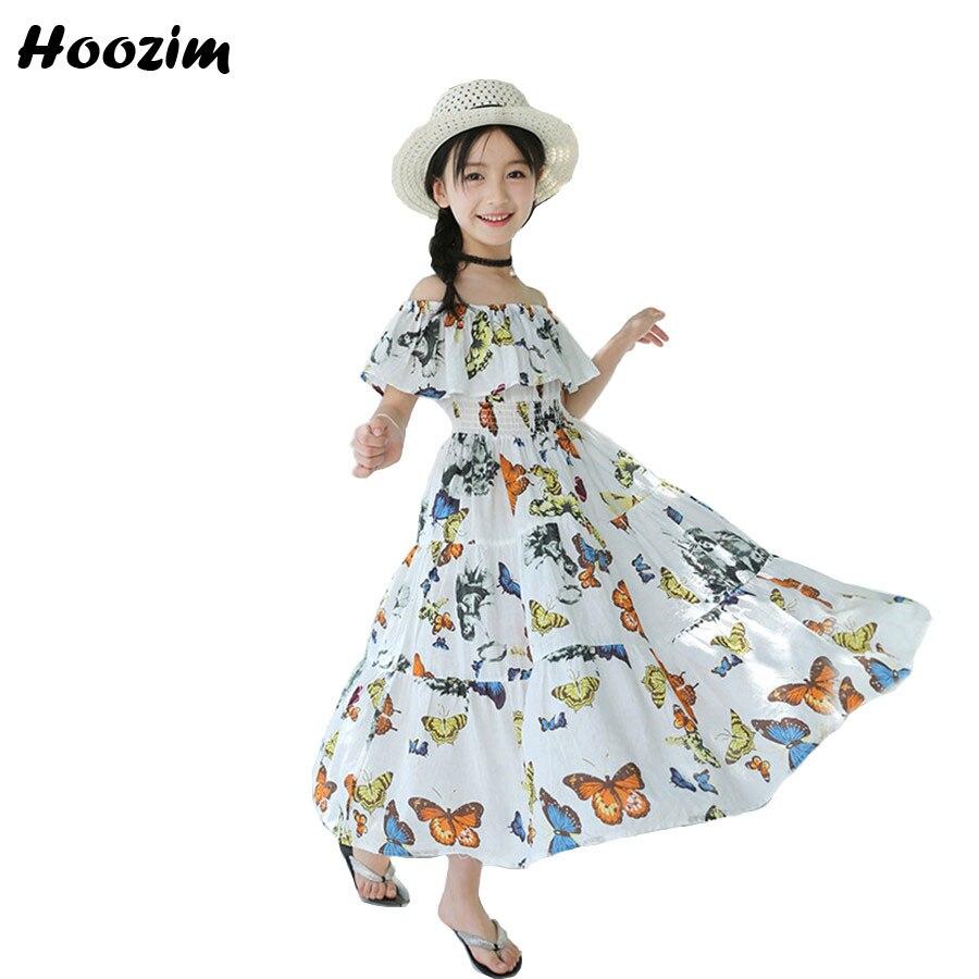 6 10 12 13 Years Summer Kids Dresses For Girls Bohemian White .Print Flower Ruffle Cotton Long Dress For Girls Children Clothing bohemian round collar flower print sleeveless dress for women