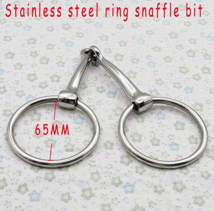 Frete grátis aço Inoxidável anel snaffle bit, boca articulada sólido. produto do Cavalo, superfície brilhante. (BT0503)