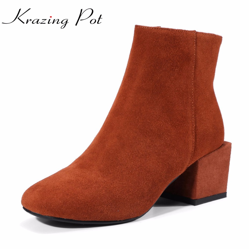 Krazing Pot cow suede new arrival square toe thick high heels runway winter shoes British school concise style ankle boots L27 цена 2017