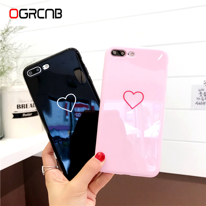 47ed74ec998c Lovely Heart Painted Phone Case For iphone X Xs max Xr Cases Couples Soft  TPU Cover