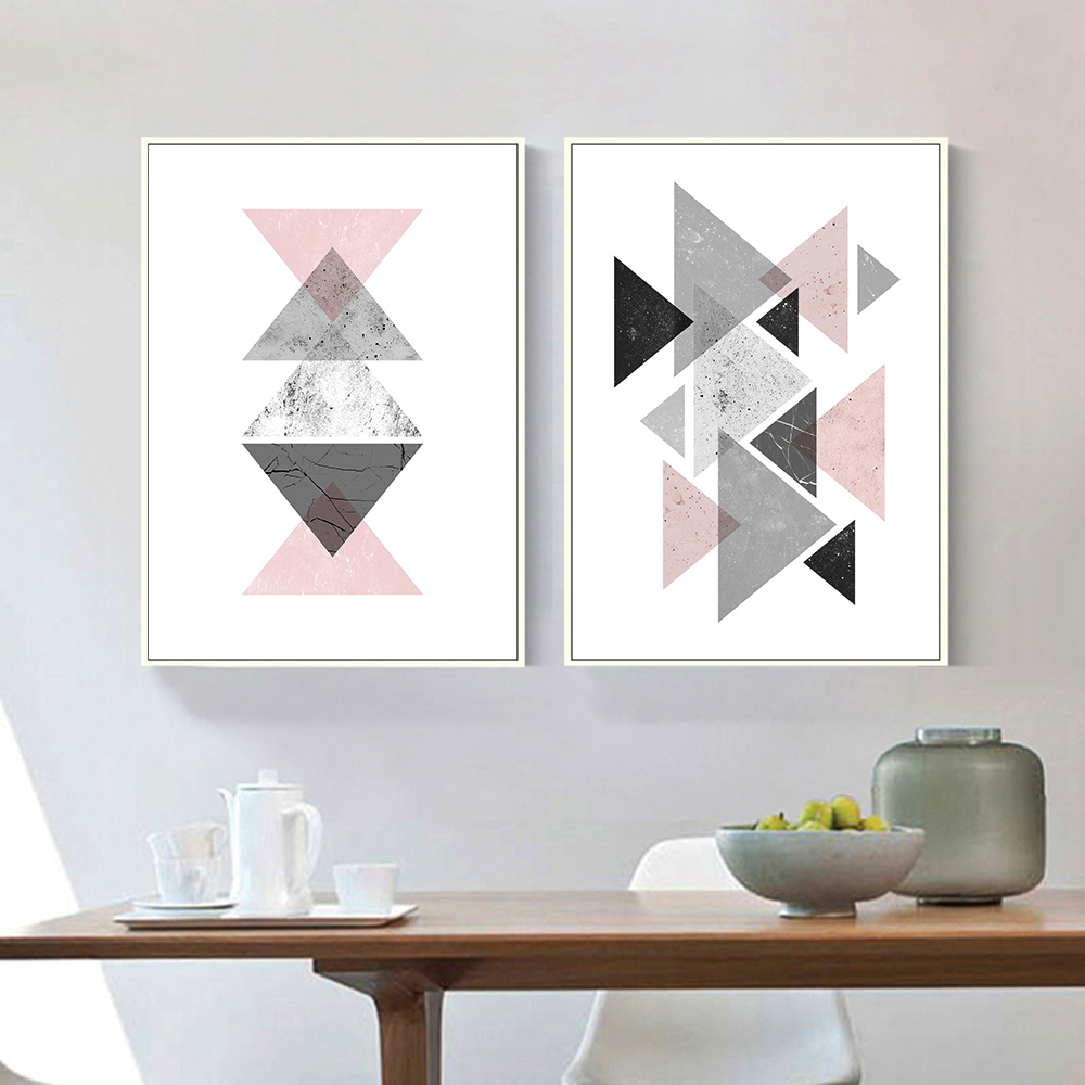 Geometric triangles abstract canvas posters and prints for Minimalist wall decor