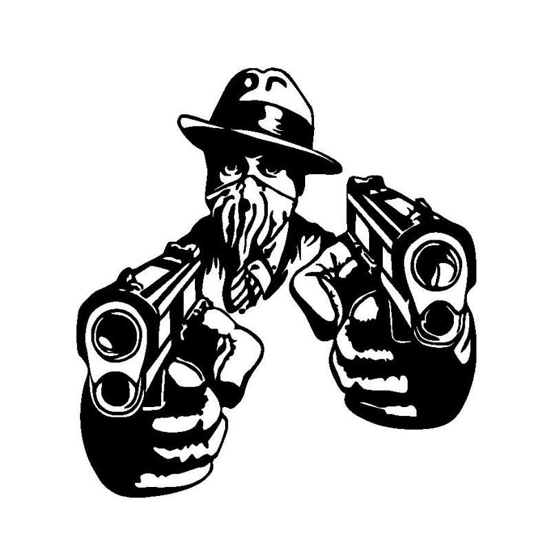 14.4*15.5 CM Gangster avec pistolets vinyle Stickers pare