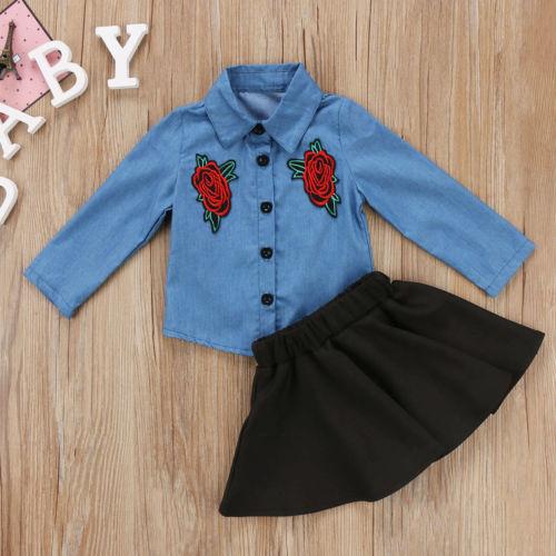 41ab8e07209 Fashion Kids Baby Girls Clothes Floral Shirt Denim T-shirt Tops+High Waist Tutu  Skirt Dress Set Fall Winter Outfit Clothing 2pcs