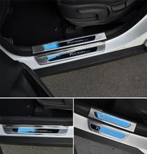 Guarder Puerta de Acero inoxidable Umbral de la Puerta Placa Del Desgaste Del Travesaño Pedal Bienvenidos Coche Cubre Para Hyundai TUCSON 2016 Car Styling Accesorios
