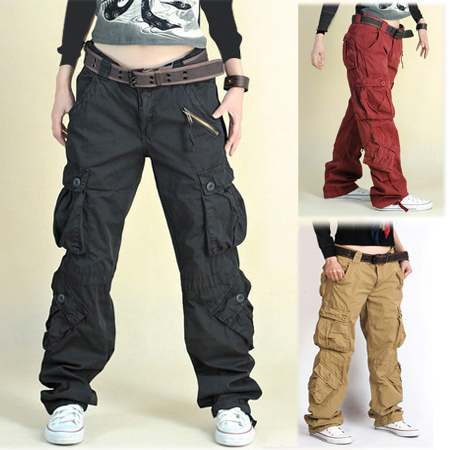 2015 New Fashion plus size Women's trousers with multi pockets black/khaki/red hip hop cargo pants army pants for women&men